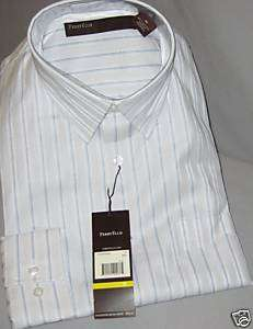 Perry Ellis LS Shirt White w/Blue & Tan Stripes Men Med