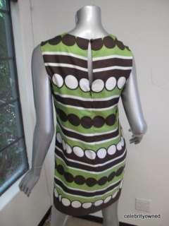 Milly Green/White/Brown Circle Print Sleeveless Dress 2