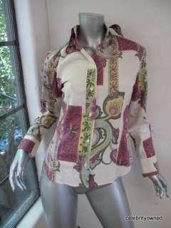 Etro Cream, Pink, & Green Paisley Button Down Top 42