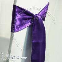 108 Purple Satin Chair Cover Sash Bow Wedding Party Banquet