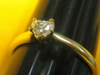 14K solid yellow GOLD RING REAL DIAMOND HEART SHAPE rare& unique love