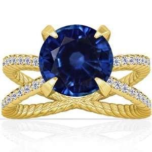 Round Cut Blue Sapphire Fana Designer Ring (GIA Certificate) Jewelry