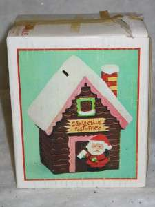 Vintage Christmas Ceramic Santa Claus Post Office Bank
