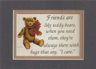 FRIENDSHIP Friends TEDDY BEARS HUG verses poems plaques