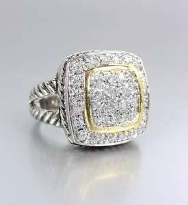 Designer Style Silver Cables Gold Pave CZ Crystals Signature Ring 722
