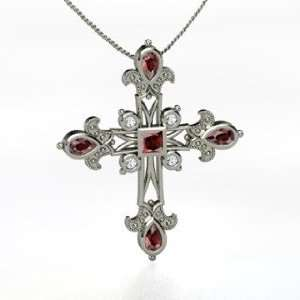 Grace Cross, Princess Red Garnet Sterling Silver Necklace