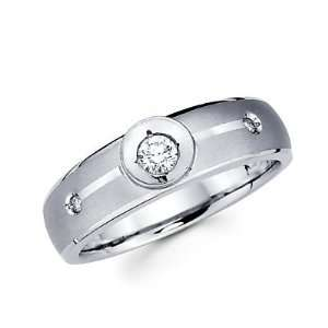 Size  4   .14ct Diamond 14k White Gold Mens Wedding Solitaire Ring