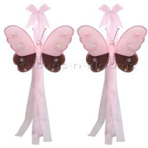 Brown Pink Hailey Butterfly Curtain Tieback Pair / Set