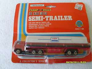 HO SCALE DIE CAST RED METAL TRACTOR EXXON GAS TANKER TRAILER