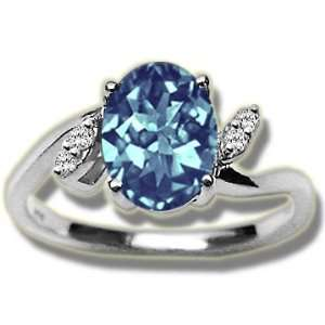 .04 ct 8X6 Oval Blue Topaz Ladies Ring White Gold Jewelry