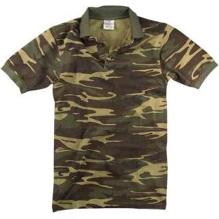 Mens Woodland Camouflage Vintage Golf Polo Shirt