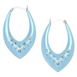 Sterling Silver Blue Chalcedony Enamel White Crystal Marquise Earrings