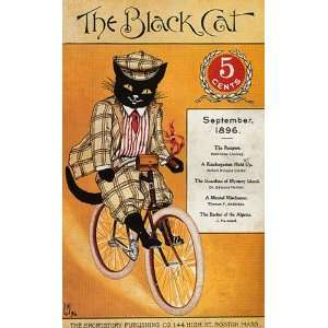 THE BLACK CAT RIDING BIKE BICYCLE 1896 BOSTON MAGAZINE COVER LARGE