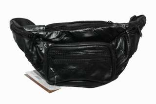 Genuine Lambskin Leather Belt Bag BLACK Fanny Waist Pack NEW