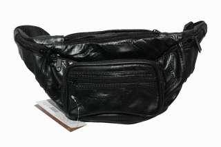 Genuine Lambskin Leather Belt Bag BLACK Fanny Waist Pack NEW