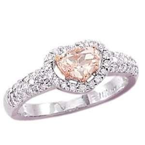 Diamonds   Heart Shape Pink Morganite Center Stone Promise Ring Size 6