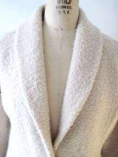 Winter White Italian Wool Boucle Shawl Collar Jacket   Med