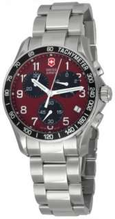 Victorinox Swiss Army Mens 241148 Chrono Classic Red Dial Date Watch