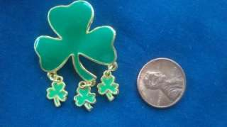 Lucky FOUR LEAF CLOVER Enamel Brooch signed SFJ for St. Patricks Day