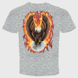 eagle flames biker t shirt military usa patriotic gift