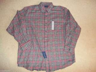JOHN ASHFORD Mens NEW Gray & Red Plaid Flannel Shirt XL $40