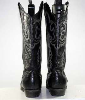 PANHANDLE SLIM WESTERN/COWBOY BLACK LEATHER VINTAGE WOMENS BOOTS sz 6