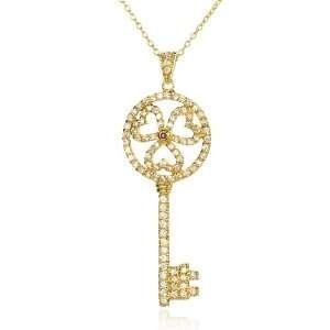 Triple Heart Top Key Pendant with White CZ Bale 18 CHELINE Jewelry