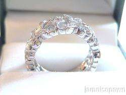18k WHITE GOLD ladies antique DIAMOND RING ESTATE Band
