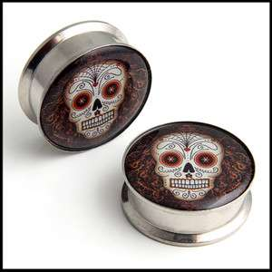 Pair Sugar Skull Day of the dead Screw Steel Ear Flesh Stash Tunnel