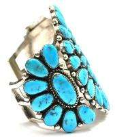 Vintage Native American Zuni Indian Sterling & Turquoise Cluster Cuff