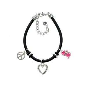 Hot Pink Glitter Cat Black Peace Love Charm Bracelet Arts
