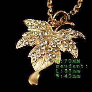 d6552 Lady 70cm Chain Gorgeous Gold Crystal Leaf Shape CZ Inlay