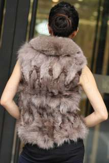 100% Real Genuine Fox Fur/Furs Coat/Coats Vest Gilet brown deluxe