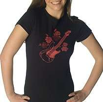 NWT PAUL FRANK Black Guitar and Roses T Shirt~ sz XS, S