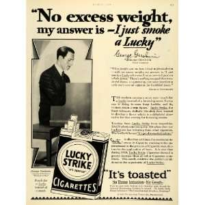 1929 Ad Lucky Strike Cigarettes George Gershwin Composer