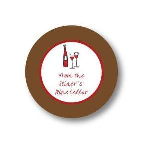 Polka Dot Pear Design   Round Stickers (Wine Anyone   503r