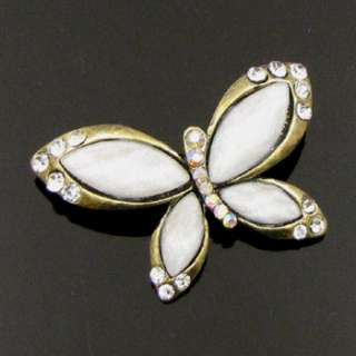 ADDL Item  1pc antiqued rhinestone crystal butterfly