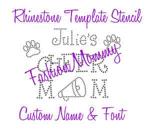 Custom Name Cheer Mom Rhinestone Template Stencil Pattern Hot Fix