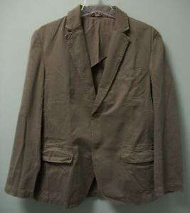 FRENCH CONNECTION Mens Olive Gray Cotton Jacket Blazer Sport Coat 40
