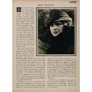 1923 May McAvoy Silent Film Actress Biography Print