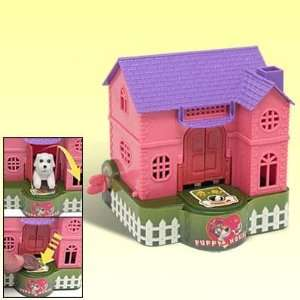 Wind up Cute Puppy Dog House Kids Coin Saving Box   Pink Toys & Games