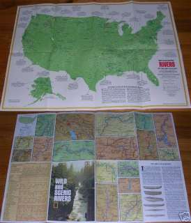 National Geographic MAP United States RIVERS July 1977