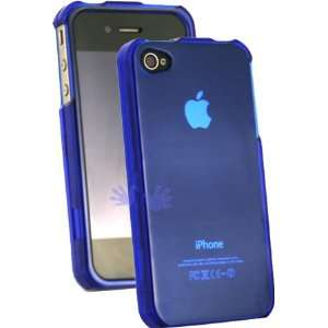 iPhone 4 Crystal Clear Hard Case   Clear Blue Cell Phones