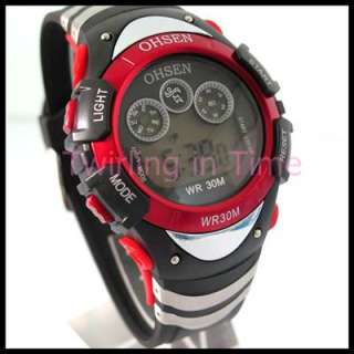 Red New Retro Display Digital Boy/Girl/Lady Sport Watch