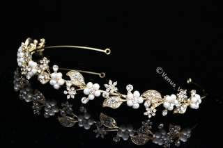 Gold Bridal Wedding Crystal Pearl Headband Tiara V665