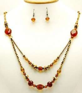 AMBER GOLD FACETED GLASS BEAD NECKLACE EARRING SET