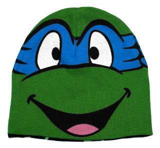Ninja Turtles TMNT Leonardo Face Reversible Knit Hat Beanie