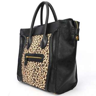 Gossip Girl Leopard PU Leather Luxury fur Luggage Tote Smile Bag