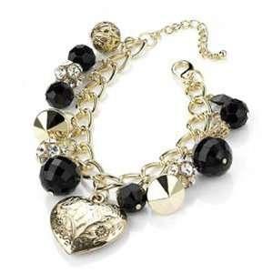 Gold Tone Heart, Bead & Crystal Ball Charm Bracelet   18cm