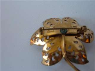 Vtg Coro Brooch Pin Peirced Flower Pearl Rhinestones Gold tone OLD